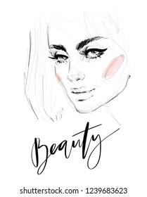 Hand drawn black and white pencil with watercolor fashion illustration of abstract beautiful young woman face for Women's Day greeting card background design. 8 march concept.