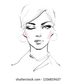 c10e462b2d9 Hand drawn black and white pencil sketch of beautiful young woman face.  Stylish fashion illustration