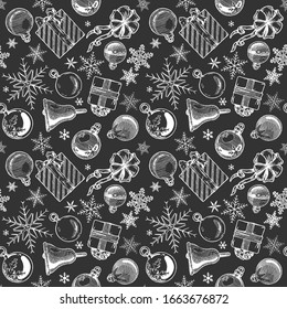 Hand drawn black and white seamless pattern with Christmas elements. Xmas and winter holidays. illustration in ink hand drawn style.