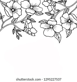Hand Drawn Black and White Valentine Floral Background
