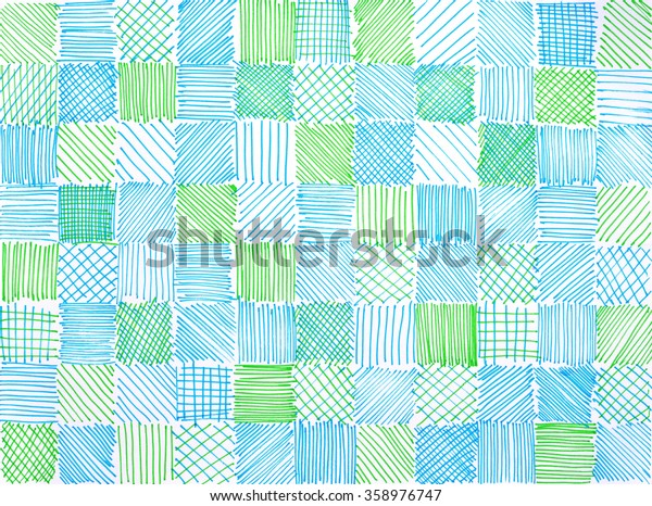 hand drawn block background with various squares of hatchwork sketch doodles in random pattern of lines stripes checkered tiles and diagonal slanted marker strokes in green and sky blue colors