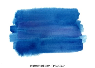 Hand drawn blue watercolor rectangle on white background