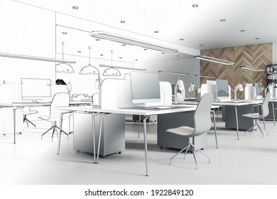 Hand drawn blueprint of modern coworking office interior design with eco style decoration. 3D rendering