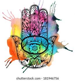 Hand drawn boho hamsa hand with watercolor. Raster hand drawn illustration.