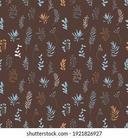 Hand drawn boho organic seamless pattern. Artistic botanical retro repeat background. Neutral burnt orange color seamless vintage wallpaper, upholstery, wrapping paper, endless website backdrop
