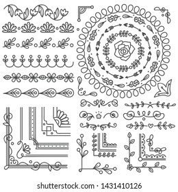 Hand drawn border and frame, wedding card design element