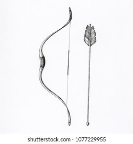 Hand drawn bow and arrow isolated on background