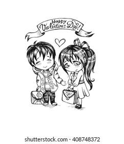 Two Cute Cartoon Girls Best Friends Stock Vector Royalty Free