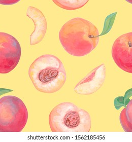 Hand drawn bright fruits seamless pattern. Realistic drawing with acrylic paint. Peach fruits, whole, leaves, cut and slice of peaches on yellow background. Botanical wallpapers. Healthy Organic foods