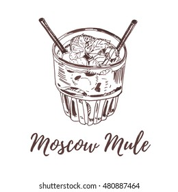 Hand drawn brush pen sketch. Illustration of Moscow Mule cocktail also known as a Vodka buck, with two straws and decorated with mint leaves. Isolated on white background. Ideal for menu design