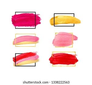 Hand drawn brush stroke design elements. Set of gold and red strokes isolated on white background. Lipstick bullet smudged. Beautiful textured brush stroke with geometrical frame