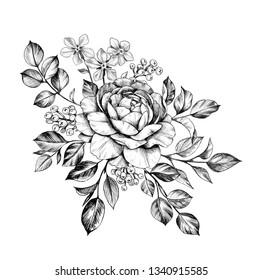 Hand drawn bunch with rose, berries and small flowers isolated on white background. Pencil drawing monochrome elegant floral composition in vintage style, t-shirt, tattoo design.