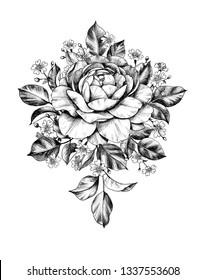 バラ イラスト 白黒の画像写真素材ベクター画像 Shutterstock