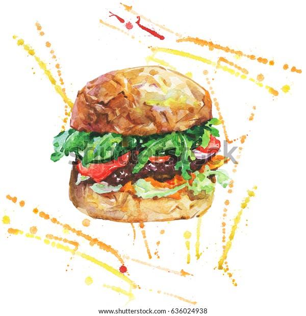 Hand Drawn Burger Vegetables Watercolor Meet Stock