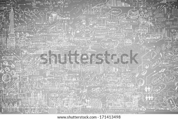 Hand drawn business ideas sketch on blackboard