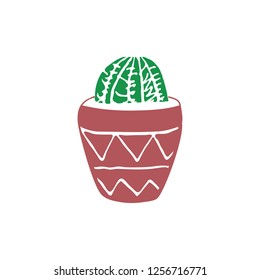 Hand drawn cactus. Cute illustration for card and cover. vintage badges. Vintage elements for patches, transfer, tatoo, atc