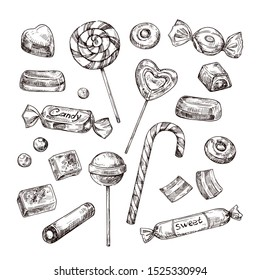 Hand drawn candies. Chocolate candy, lollipop and marmalade, sweets. Vintage sketch set