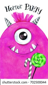 Hand drawn card. Watercolor head of a monster with sweets. Celebration illustration. Cartoon horror party. Funny beasts. Baby background. Can be use in holidays, birthday design, cards.