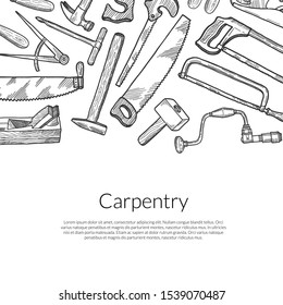 hand drawn carpentry elements on white
