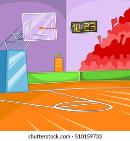 hand drawn cartoon of basketball court colourful background sport arena empty