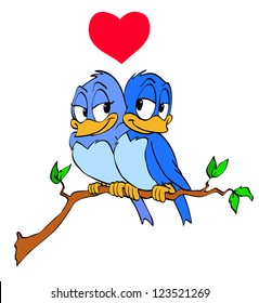 Hand drawn cartoon blue birds/Love Birds Heart