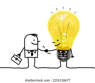 Hand drawn Cartoon Businessman Shaking Hands with Funny Light Bulb character