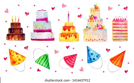 Hand drawn cartoon cakes and party hats. Set of stylized birthday elements.  Watercolor sketch illustration isolated on white background