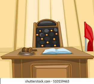 Hand drawn cartoon of court interior. Colourful cartoon of courtroom. Background of courtroom interior. Cartoon of empty courtroom with judge chair. Cartoon of courtroom with mallet on judge table.