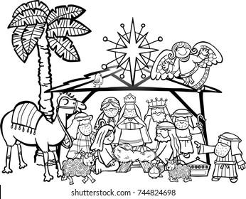 Hand drawn cartoon doodle depicting the Christmas nativity bible story in black and white for colouring projects.