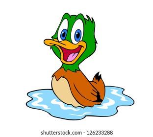 Hand drawn cartoon duck/Cute Duck