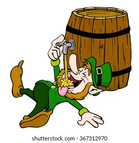 hand drawn cartoon leprechaun drinking/Leprechaun Drinking Beer