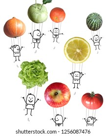 Hand Drawn Cartoon People in the Air with Fruits and Vegetables Balloons