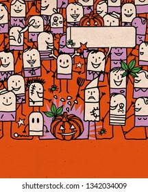 Hand drawn Cartoon People Crowd and Happy  Halloween Time