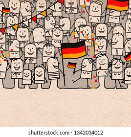 Hand drawn Cartoon People Crowd and Happy  National German Day
