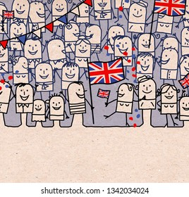 Hand drawn Cartoon People Crowd and Happy  National English Day
