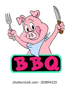 Hand drawn cartoon pig ready to eat/ Pig Barbecue