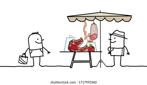 hand drawn Cartoon producer selling organic meat on a market store