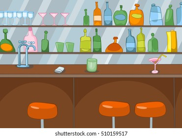 Hand drawn cartoon of pub interior. Colourful cartoon of bar background. Background of classic bar counter. Cartoon of empty bar in a nightclub. Background of table top and shelves with bottles.