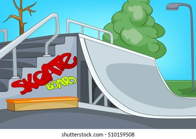 Hand drawn cartoon of sport city infrastructure. Colourful cartoon background of empty skatepark. Background of modern playground for skateboarding. Background of contemporary urban skatepark.