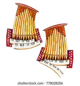 Hand drawn cartoon watercolor illustration of two stylized organ pipes for children design