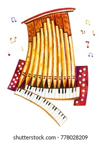 Hand drawn cartoon watercolor illustration of stylized organ pipe with notes for children design