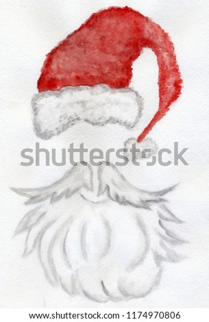 9c4a727538d Hand drawn Christmas card with red santa hat and white beard in watercolors.