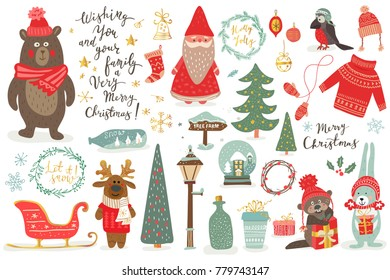 Hand drawn Christmas set in cartoon style. Funny card with cute animals and other elements: bear, deer, rabit, santa, Christmas tree, lettering. Vector illustration