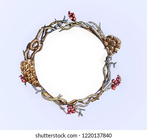 Hand drawn Christmas wreath on light blue background. Dry branches , red berries and cones
