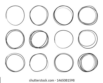 Hand drawn circles. Round doodle loops, circular sketch highlights. Circular scribble black pencil stroke brush illustration on white background. Circle  isolated set