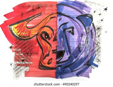 hand drawn clip art of bear and bull of stock market