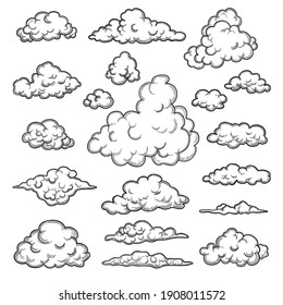 Hand drawn clouds. Weather graphic symbols decorative sky nature objects cloud collection