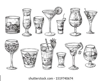 Hand drawn cocktail. Alcoholic drinks in glasses. Sketch juice, margarita martini. Cocktail with rum, gin whiskey set