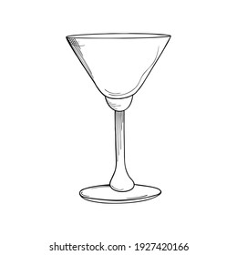 Hand drawn cocktail glass on a white isolated background. Illustration in black and white graphic style, doodle. It can be used for decoration of textile, paper and other surfaces.