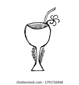 Hand drawn cocktail/wine glass with floral elements, useful for blog posts, cards, labels, marketing materials.